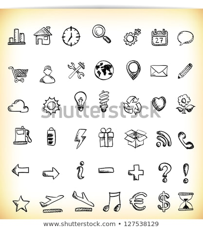 Stockfoto: Doodle · kaart · icon · zwart · wit · symbool · frame