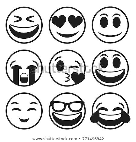 Cute serca uśmiechnięta twarz otwarte usta uśmiechnięty Zdjęcia stock © ikopylov