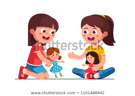 Stok fotoğraf: Iki · çocuklar · oynama · kukla · kız · gülen