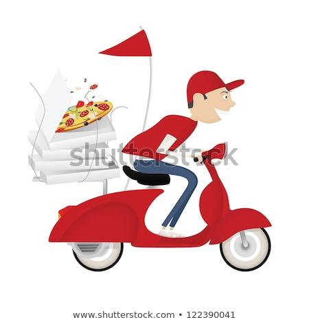 Courrier pizza cases vélo restauration rapide ligne Photo stock © studioworkstock