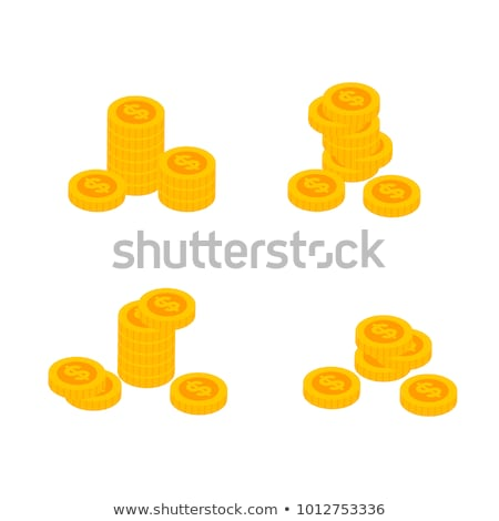 isometric money stack and golden coin icon stock photo © studioworkstock