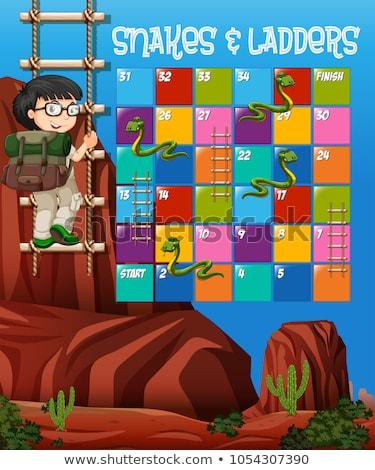 головоломки игры шаблон мальчика скалолазания вверх Сток-фото © bluering