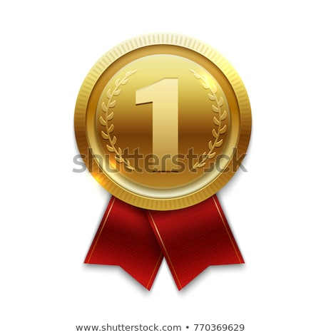 First place shiny golden medal with ribbon stock photo © studioworkstock