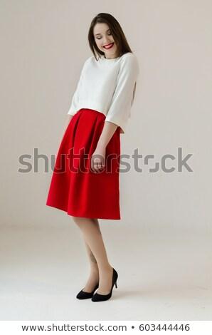 少女 白 シャツ 赤 スカート 実例 ストックフォト © bluering