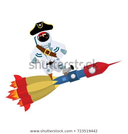 space pirate on rocket filibuster spaceman buccaneer cosmonaut stock photo © popaukropa