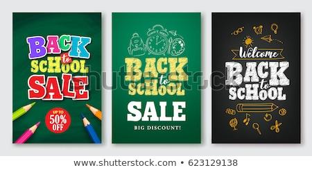 Vissza az iskolába vásár szalag terv tanszerek papír Stock fotó © ikopylov