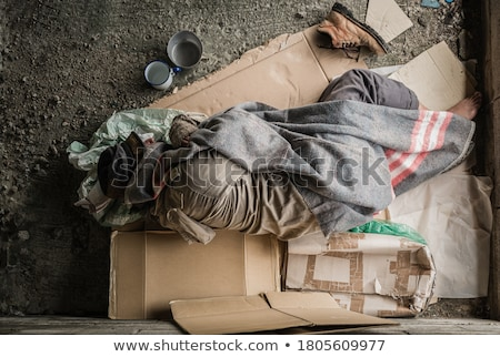 Sin hogar mendigo dormir calle boceto casa Foto stock © AndreyPopov