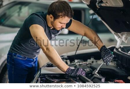 mecánico · de · trabajo · coche · sonriendo · hombre · retrato - foto stock © monkey_business