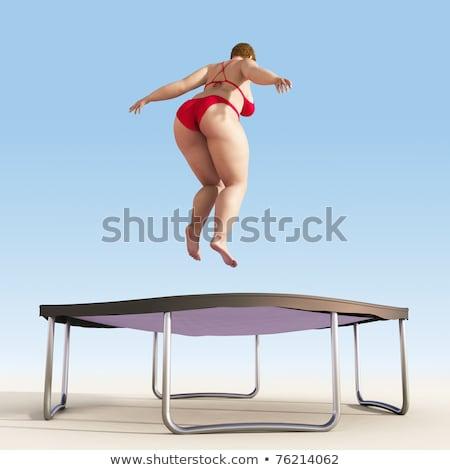 Mulher 3d biquíni saltando alegria 3D jovens Foto stock © texelart