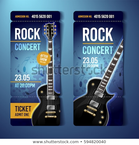 vector rock festival ticket design template with guitar stock photo © zoa-arts