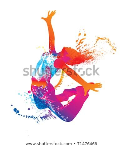 Salpico dançar feliz jovem saltando cores Foto stock © milsiart
