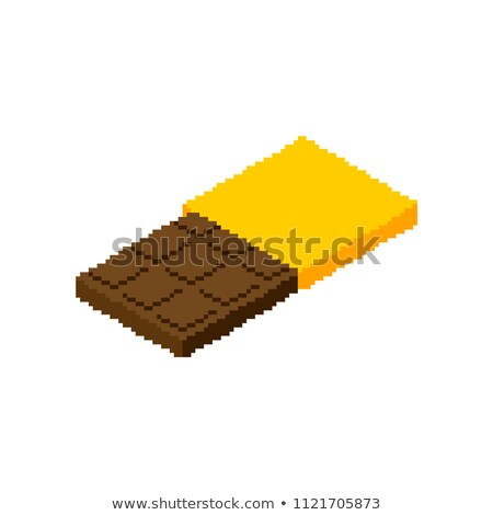 Chocolate bar Pixel art. Sweetness 8 bit. Food digital. Vector i Stock photo © popaukropa