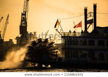 Gőz csónak Németország háttér fa kék Stock fotó © lightpoet