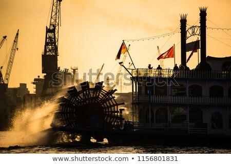 Buhar tekne Almanya arka plan ahşap mavi Stok fotoğraf © lightpoet
