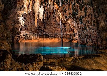 Podziemnych jaskini scena ilustracja tle górskich Zdjęcia stock © bluering