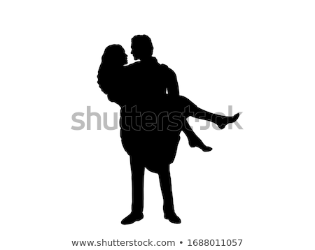 man and woman silhouettes young family banner stock photo © robuart