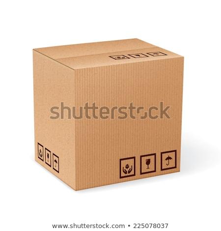 Karton levering verpakking vak breekbaar borden Stockfoto © tashatuvango