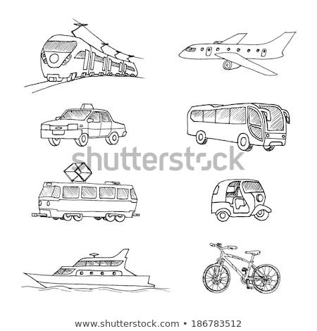 трамвай · рисованной · болван · икона · общественном · транспорте - Сток-фото © rastudio