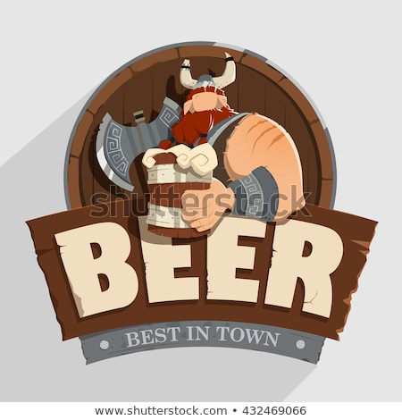 Cartoon viking bier label illustratie twee Stockfoto © cthoman