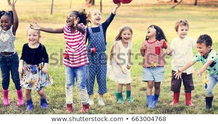 Heureux enfants jouant aire de jeux illustration enfants bâtiment Photo stock © bluering