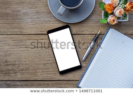 ブラックコーヒー スマートフォン 白 素朴な 木製のテーブル カップ ストックフォト © dash