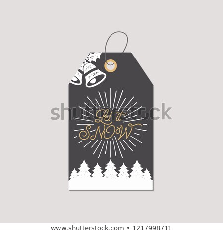 merry christmas and new year gift tag holiday card concept with xmas symbols   tree bells stock i stock photo © jeksongraphics