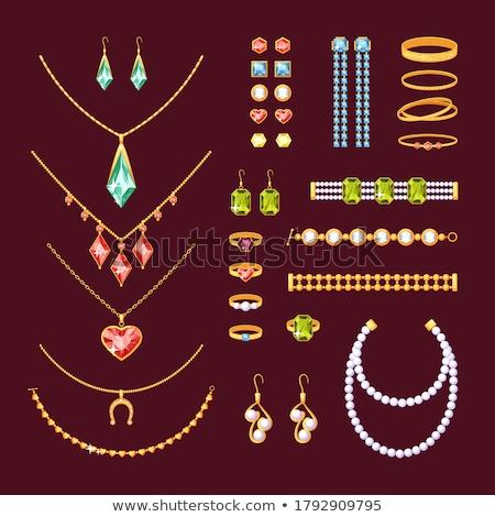 Conjunto jóias dourado brincos pérolas anel de noivado Foto stock © robuart