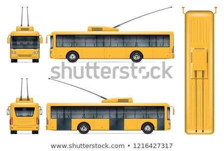 Realistic yellow trolleybus vector Stock photo © YuriSchmidt