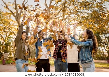 Friends having fun throwing leaves in the air Stock photo © iko