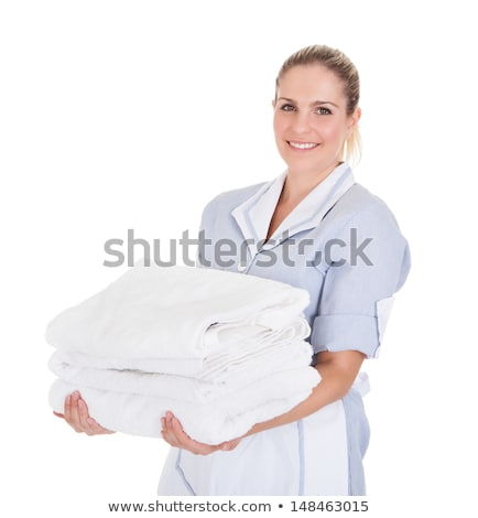 happy woman with stack of white towels stock photo © andreypopov