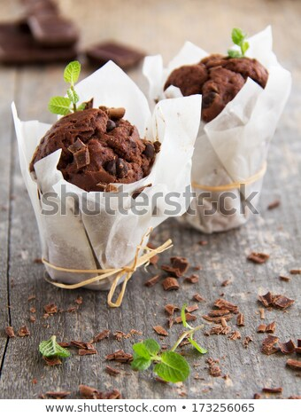 Chocolade muffins fotografie vintage voedsel papier Stockfoto © Peteer