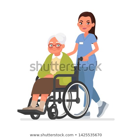 Nurse Carrying A Disabled Old Woman In Wheelchair Vector. Isolated Cartoon Illustration Stock photo © pikepicture