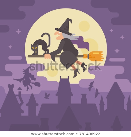 Scene with witch on flying broom Stock photo © colematt