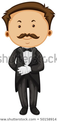 Butler in taxido and gloves Stock photo © colematt