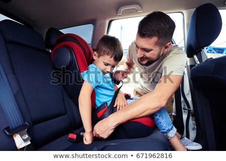 Foto stock: Little · girl · sessão · bebê · carro · assento
