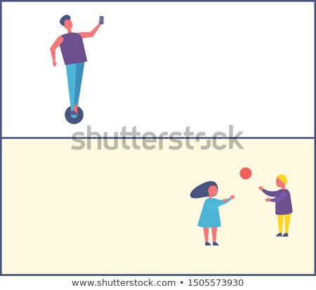 people in park poster kids play ball man on segway stock photo © robuart
