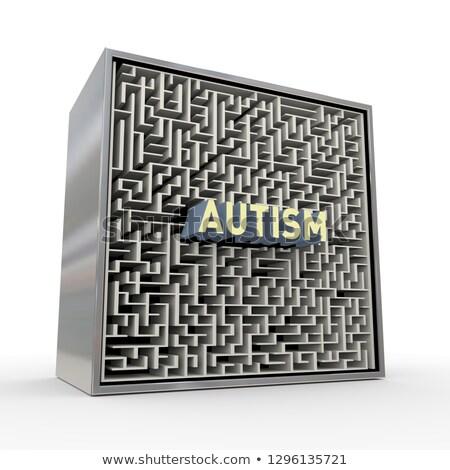 3D quebra-cabeça labirinto labirinto caixa autismo Foto stock © nasirkhan