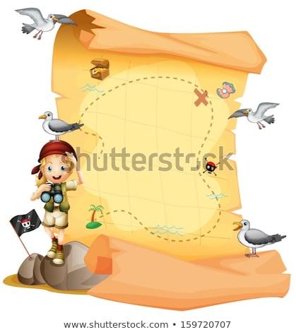 desenho · animado · pirata · bandeira · mapa · ilustração - foto stock © bennerdesign
