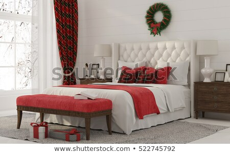 Chambre bois lit rouge rideau illustration Photo stock © colematt
