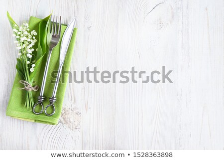 primavera · mesa · cubiertos · madera · tenedor · placa - foto stock © mythja