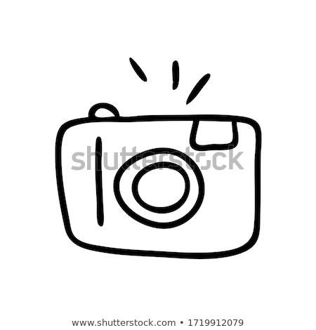 単純な · スケッチ · カメラマン · 実例 · 白 · 光 - ストックフォト © rastudio