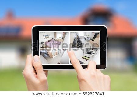 Személy ellenőrzés okos ház digitális tabletta Stock fotó © AndreyPopov