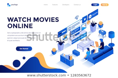 isometric flat vector landing page template of smart tv home entertainment stock photo © tarikvision