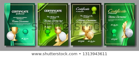 Golf Game Certificate Diploma With Golden Cup Set Vector. Sport Award Template. Achievement Design.  Stock photo © pikepicture