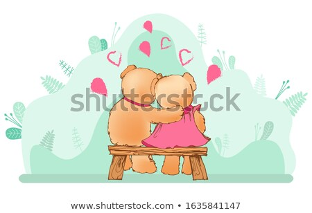 hugging teddy bears sitting on wooden bench vector stock photo © robuart