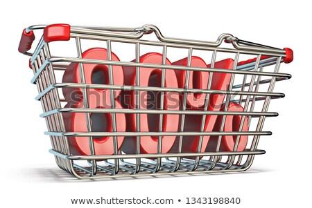 Stok fotoğraf: çelik · alışveriş · sepeti · 80 · yüzde · imzalamak · 3D