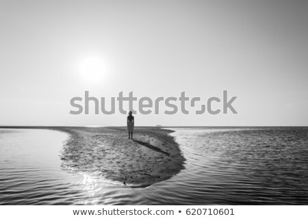 Female stands on a secluded beach at sunset Stock photo © lovleah