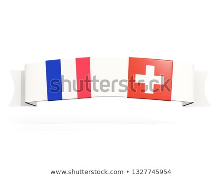 Banner with two square flags of France and switzerland Stock photo © MikhailMishchenko