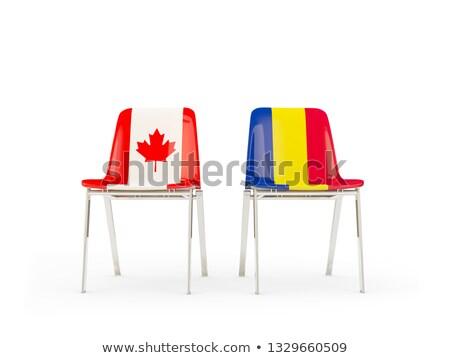 Dois cadeiras bandeiras Canadá Romênia isolado Foto stock © MikhailMishchenko