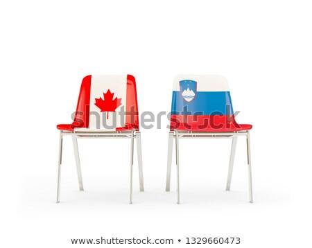 Iki sandalye bayraklar Kanada Slovenya yalıtılmış Stok fotoğraf © MikhailMishchenko